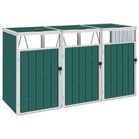 vidaXL Skjul för tre sopkärl grön 213x81x121 cm stål