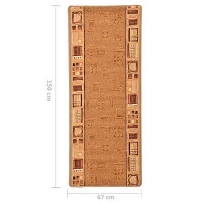 vidaXL Halkfri gångmatta beige 67x150 cm
