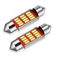 2X CANBUS C5W SV8,5 Festoon 12 LED 4014 36mm- Vit