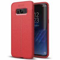 Läder mönstrat TPU skal Samsung Galaxy S8 (SM-G950F) Röd