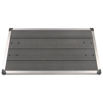 vidaXL Golv till utedusch WPC rostfritt stål 110x62 cm grå