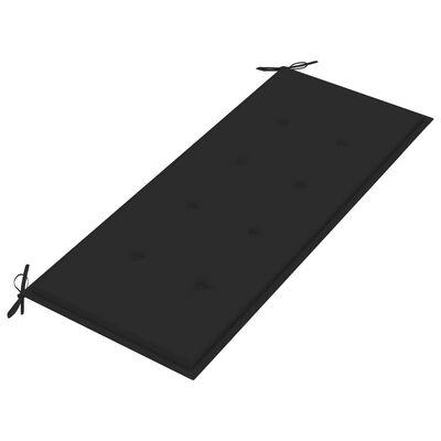 vidaXL Bataviabänk med svart dyna 120 cm massiv teak