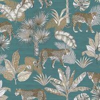 DUTCH WALLCOVERINGS Tapet leopard blå och beige