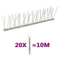 vidaXL 2-raders Fågelpiggar i rostfritt stål 20 st 10 m