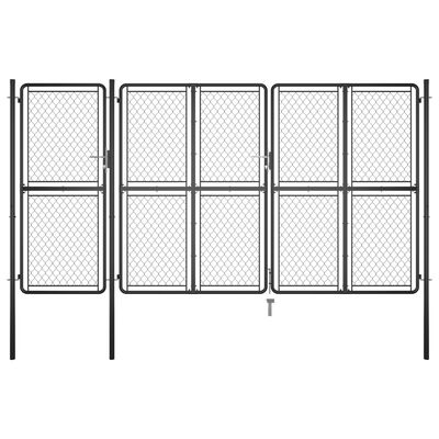 vidaXL Trädgårdsgrind stål 150x395 cm antracit