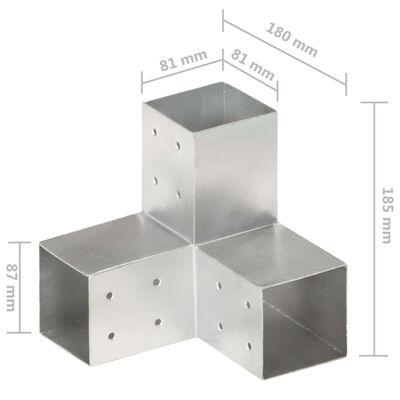 vidaXL Stolpbeslag Y-form galvaniserad metall 81x81 mm
