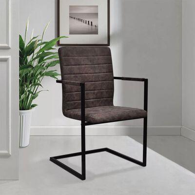 vidaXL Fribärande matstolar 6 st brun konstläder