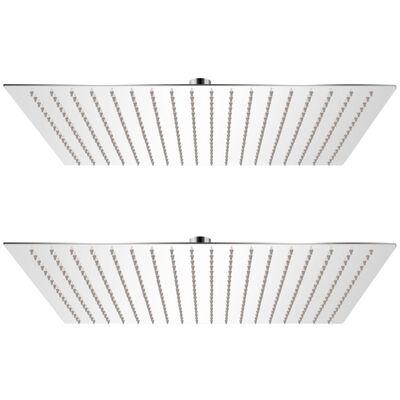 vidaXL Regnduschhuvud 2 st rostfritt stål 50x50 cm