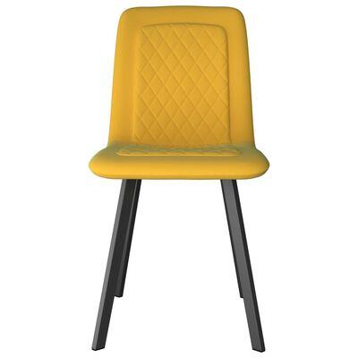 vidaXL Matstolar 2 st gul sammet