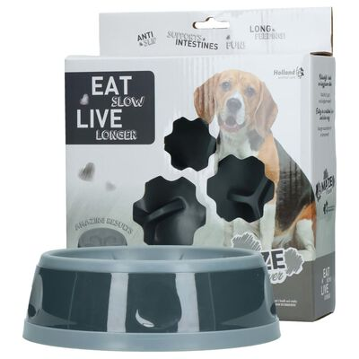 EAT SLOW LE LONGER Aktiveringsmatskål Amaze Flower grå M