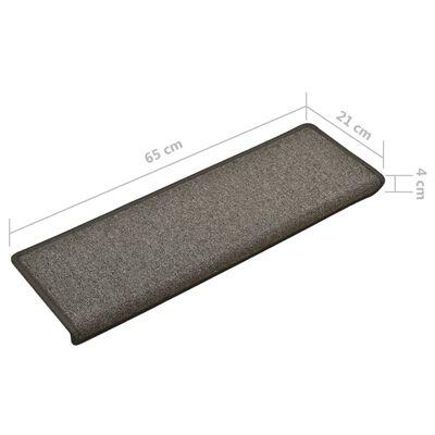 vidaXL Trappstegsmattor 15 st 65x25 cm mörkgrå