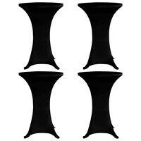 vidaXL Överdrag till ståbord Ø60 cm svart stretch 4 st