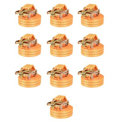 vidaXL Lastspännare med spärr 10 st 1 ton 6mx38mm orange