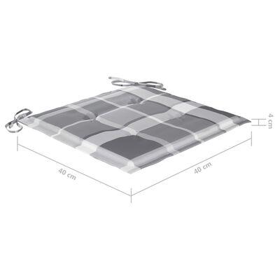 vidaXL Matstolar med dynor grått rutmönster 4 st massiv teak
