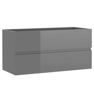 vidaXL Badrumsskåp med inbyggt handfat grå högglans spånskiva