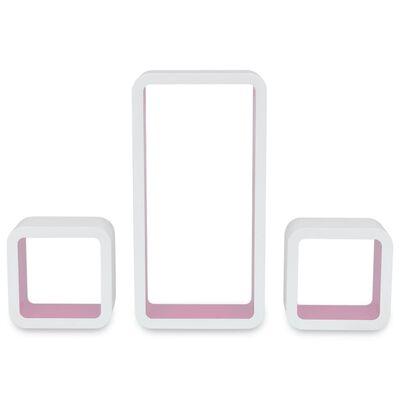 3 Flytande DVD/bokhylla förvaring i MDF kubform vit/rosa