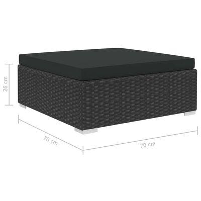 vidaXL Loungegrupp för trädgården m. dynor 10 delar konstrotting svart,
