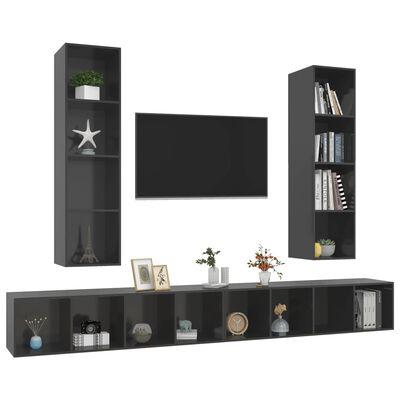 vidaXL Väggmonterade tv-skåp 4 st grå högglans spånskiva