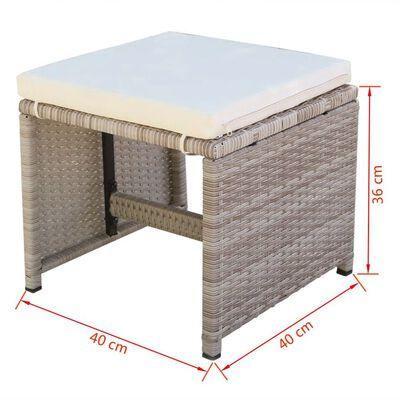 vidaXL Matgrupp för trädgården med dynor 9 delar konstrotting beige
