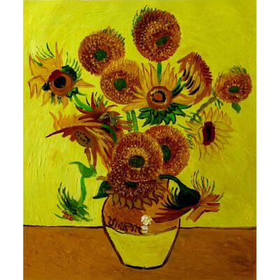 Vincent Van Gogh solblommor, oljemålning på duk, 50x60 cm