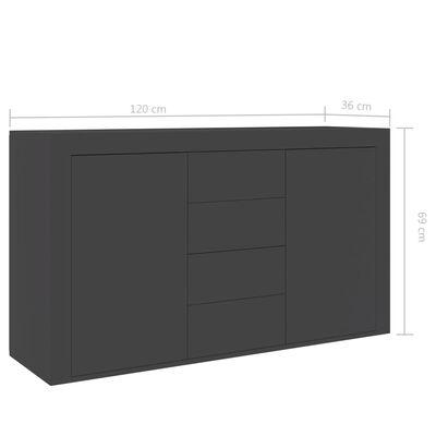vidaXL Skänk grå 120x36x69 cm spånskiva