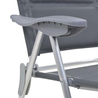 vidaXL Campingstolar 2 st grå 58x69x111 cm aluminium