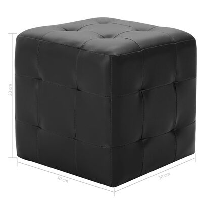 vidaXL Sittpuff 2 st svart 30x30x30 cm konstläder