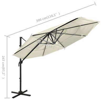 vidaXL Trädgårdsparasoll med ventilation och stång sandfärgad 3x3 m
