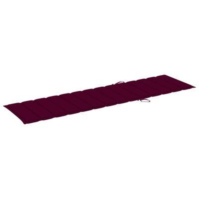 vidaXL Solsäng med röd dyna massiv teak