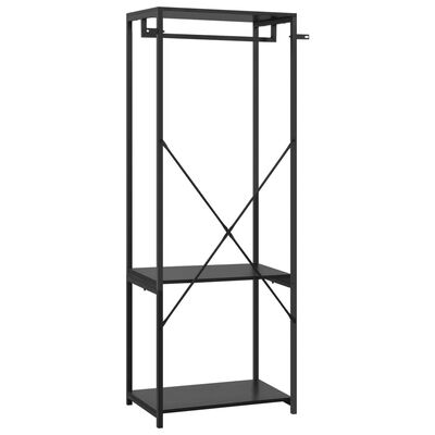 vidaXL Garderob svart 60x40x167 cm metall och spånskiva