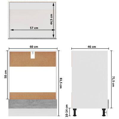 vidaXL Köksskåp för ugn betonggrå 60x46x81,5 cm spånskiva