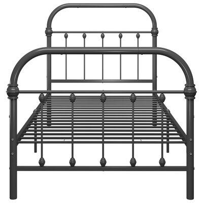 vidaXL Sängram grå metall 100x200 cm