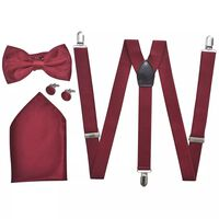 Accessoarer till mörk kostym för män Hängslen & fluga Vinröd