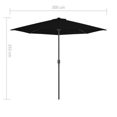 vidaXL Balkongparasoll med aluminiumstång svart 300x150x253 cm halvt