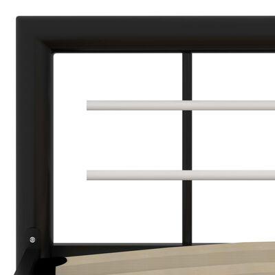 vidaXL Sängram svart och vit metall 90x200 cm