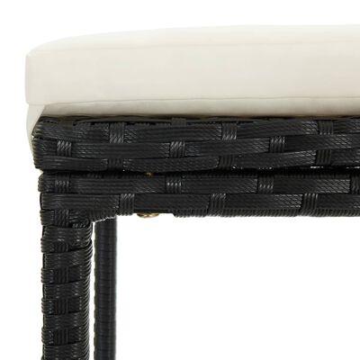 vidaXL Bargrupp för trädgården med dynor 3 delar konstrotting svart