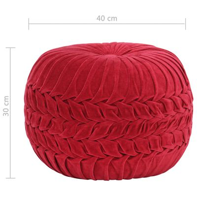 vidaXL Sittpuff bomullssammet smockdesign 40x30 cm röd