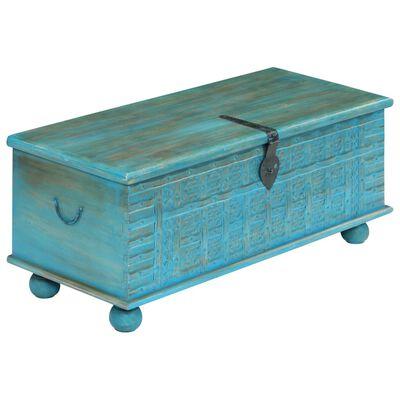 vidaXL Förvaringskista massivt mangoträ 100x40x41 cm blå
