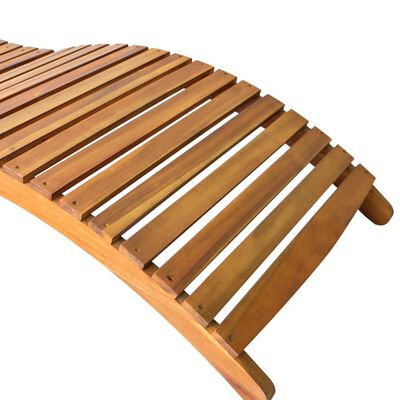 vidaXL Solsäng med dyna massivt akaciaträ