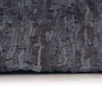 vidaXL Handvävd matta Chindi läder 190x280 cm grå, Grey
