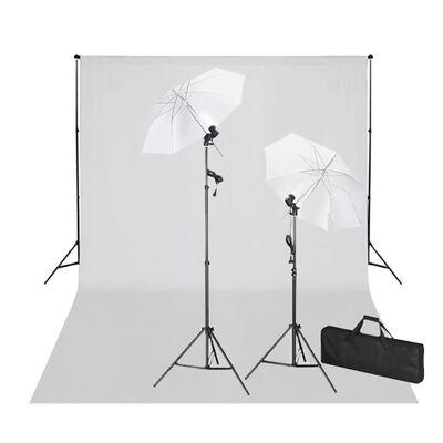 vidaXL Fotostudio kit vit bakgrund 600 x 300 cm & lampor