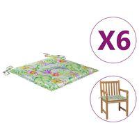 vidaXL Dynor för trädgårdsstolar 6 st bladmönster 50x50x4 cm tyg