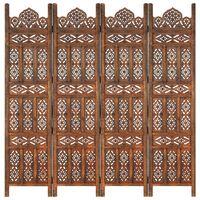 vidaXL Rumsavdelare 4 paneler handsnidad brun 160x165 cm mangoträ
