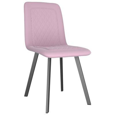 vidaXL Matstolar 2 st rosa sammet