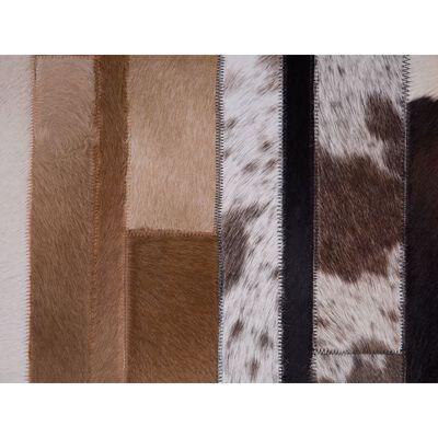 Matta 140 x 200 cm läder svart/beige DALYAN