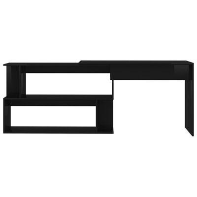 vidaXL Skrivbord hörn svart högglans 200x50x76 cm spånskiva