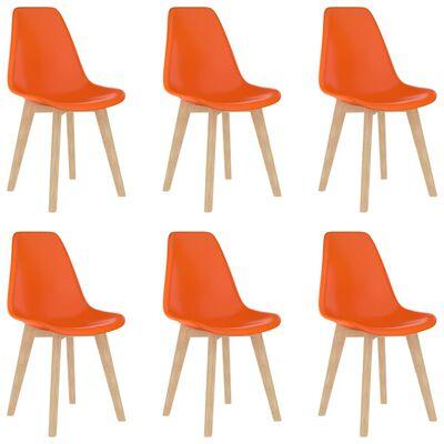 vidaXL Matstolar 6 st orange plast