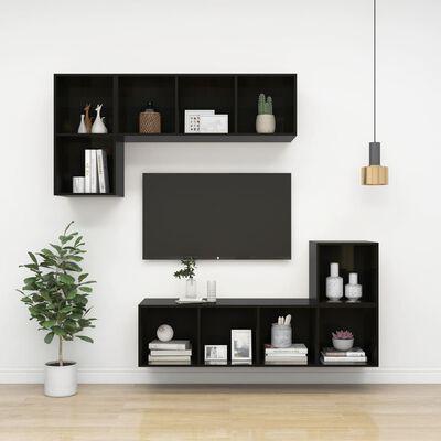 vidaXL Väggmonterad tv-bänk svart högglans 37x37x72 cm spånskiva
