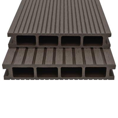 vidaXL WPC ihåliga golvplattor med tillbehör 20 m² 2,2 m mörkbrun