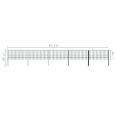 vidaXL Stängselpanel med stolpar järn 8,5x0,8 m grön